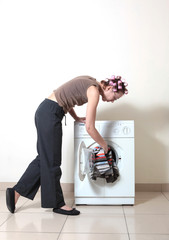 Washing machine and woman
