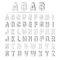 スケッチ アルファベット 立体