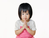 asian small child pay respect in Thai style poster