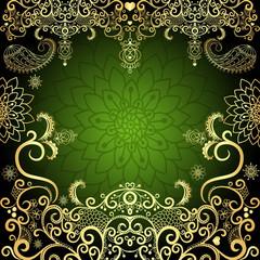Green-gold vintage floral easter frame
