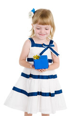 little girl with present. isolated over white