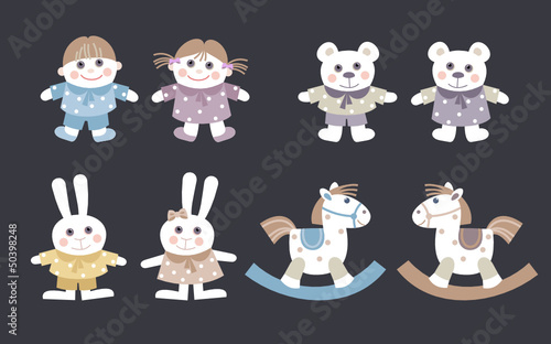 dolls and stuffed animal