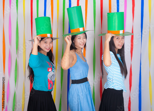 Asian-Thai Girls with Big Green Hat on St.Patrick's Day