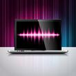Vector technology illustration with shiny laptop device.
