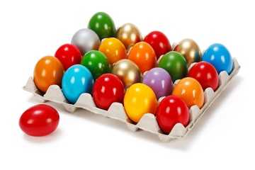 Colorful Easter eggs in storage box