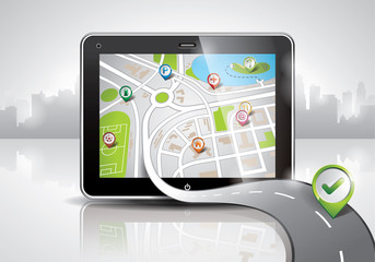 Vector map illustration with shiny pda device.