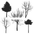 vector tree silhouette set