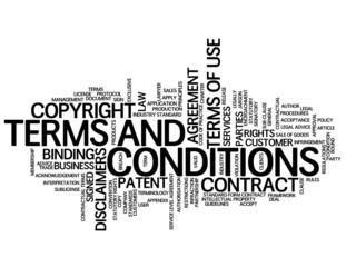 """TERMS AND CONDITIONS"" Tag Cloud (use contract legal button)"
