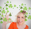 Blonde giving ok symbol for st patricks day