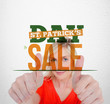 Bold text advertisement for st patricks day sale with smiling bl