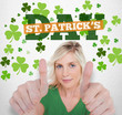 Girl in green t-shirt giving thumbs up with st patricks day gree