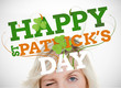 St patricks day greeting with blonde woman