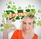 Blonde giving ok symbol for st patricks day with text and shamro
