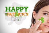 Saint patricks day greeting with smiling woman