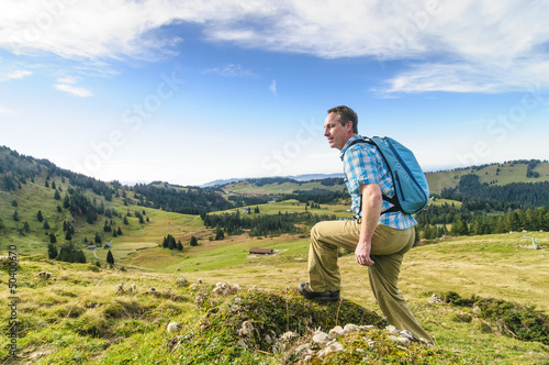 Wanderer im Aufstieg