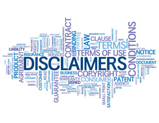 """""""DISCLAIMERS"""" Tag Cloud (terms and conditions info legal button)"""