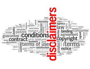 """DISCLAIMERS"" Tag Cloud (terms and conditions info legal button)"