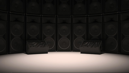 Black Sound system studio set
