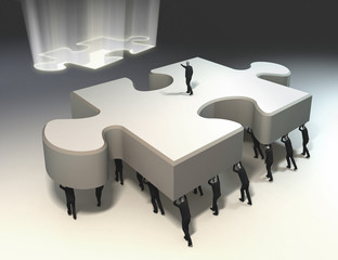 teamwork and leadership for puzzle piece