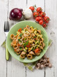 orecchiette with bean broad and fresh tomatoes