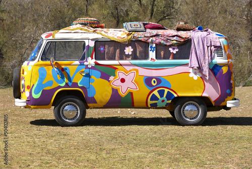 Leinwanddruck Bild Hippie van