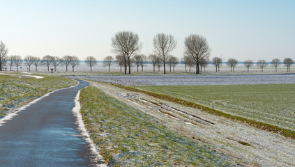 Path through the countryside in winter