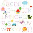 アルファベット(刺繍と縫い目)