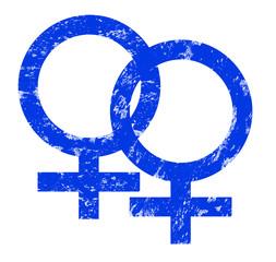 Stempel Venussymbol/ Marssymbol blau