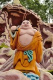 Laughing Buddhist monk on journey