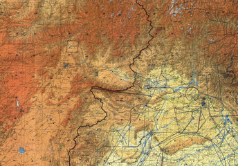 Tactical pilotage chart Afghanistan. Fragment 1991