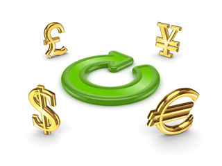 Currencies around green round arrow.