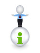 3d person standing on a ball with a query mark.