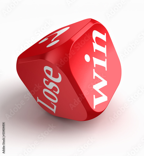 win lose question mark red dice