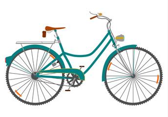 Damski rower retro na białym tle.