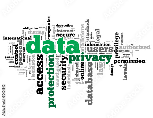 """DATA PROTECTION"" Tag Cloud (personal privacy access security)"