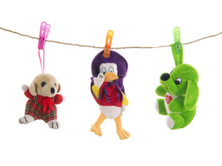 Stuffed animal toys with clothes pegs  on rope