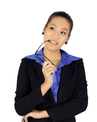 Isolated young business woman on white