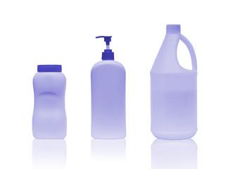 Set clean blank white plastic bottle