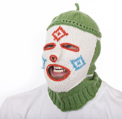 Man fooling around in funny Balaclava.