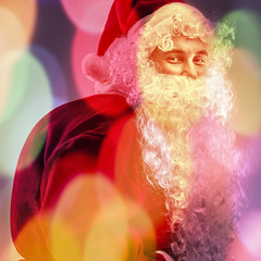Multicolored digital painted image portrait of Santa Claus.