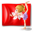 A ballet performer in front of the flag of Hongkong