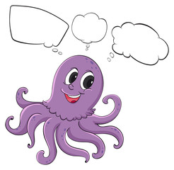 A violet octopus thinking
