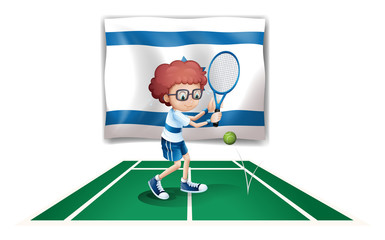 The flag of Israel with a tennis player