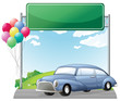 A car and balloons with an empty signboard