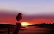 A bird in a sunset view of the desert