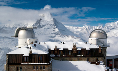 Gornergrat observatory with Matterhorn peak on the background
