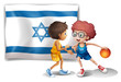 Boys playing basketball in front of the Israel flag
