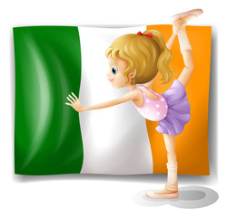 The flag of Italy at the back of a girl