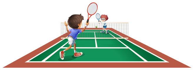 Two kids playing tennis
