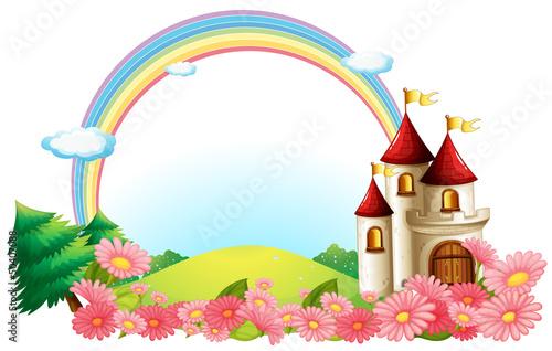 Foto op Aluminium Kasteel A castle with blooming flowers